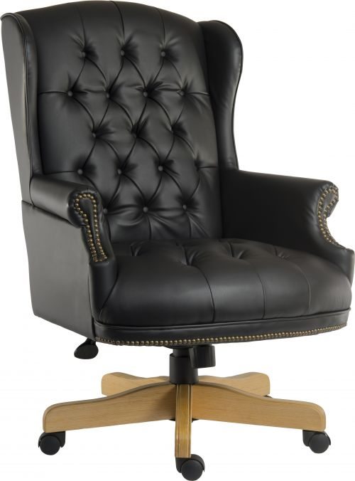 Teknik Office Chairman Noir Swivel Large Traditional Button Tufted Bonded Leather Faced Executive Chair