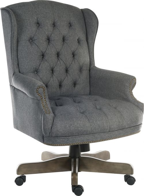 Teknik Office Chairman Grey Fabric Swivel large traditional button tufted fabric executive chair with driftwood effect five star base