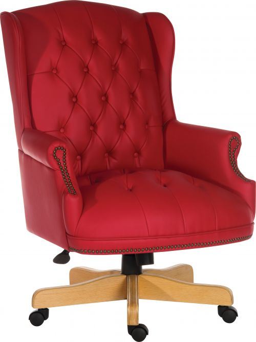 Teknik Office Chairman Rouge Swivel Large Traditional Button Tufted Bonded Leather Faced Executive Chair
