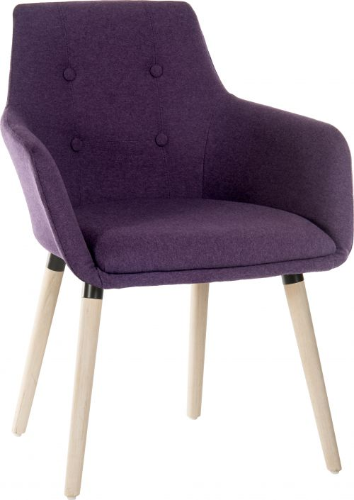 Teknik Office 4 Legged Reception Chair (Pack of 2) Plum Soft Brushed Fabric And Oak Coloured Legs