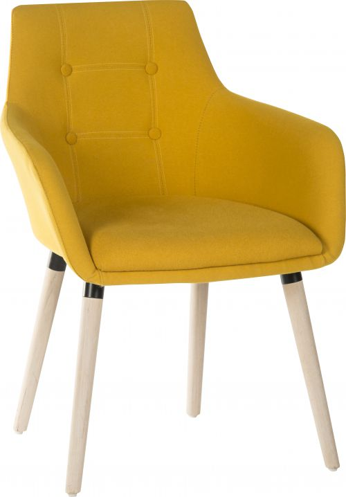 Teknik Office 4 Legged Reception Chair (Pack of 2) Yellow Soft Brushed Fabric and Oak Coloured Legs