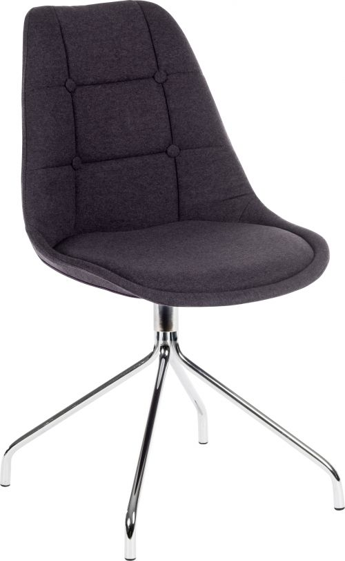 Teknik Office Breakout Chair (Pack of 2) Graphite Soft Brushed Fabric And Chrome Legs