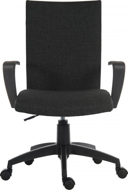 Teknik Office Work Chair In Black Fabric Black Nylon Fixed Armrests and Black Nylon Pyramid Style Base