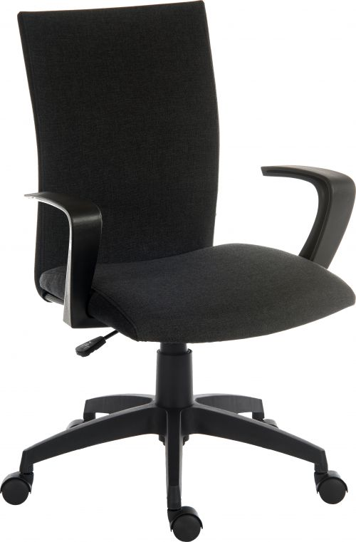 Teknik Office Work Chair In Black Fabric Black Nylon Fixed Armrests and Black Nylon Pyramid Style Base