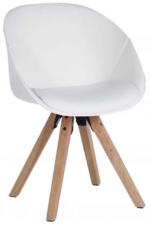 Teknik Office White Pyramid Padded Tub Chair Soft Polyurethane and PU Fabric with Wooden Oak Legs Available in Black Red or White Packs of 2