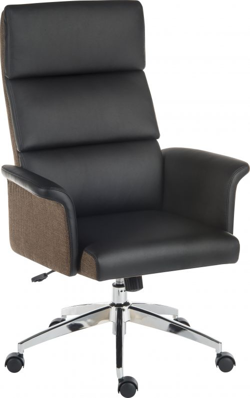 Elegance High Backed Executive Chair Black Leather Look Gull Wing Arms Contrast Chocolate Accent Fabric with Recline Function Smart Swivel Chrome Base