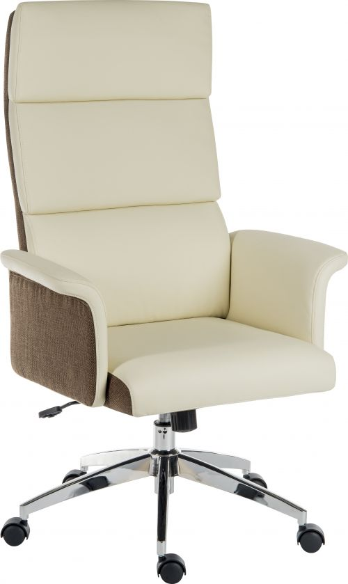 Elegance High Backed Executive Chair Cream Leather Look Gull Wing Arms Contrast Chocolate Accent Fabric with Recline Function Smart Swivel Chrome Base