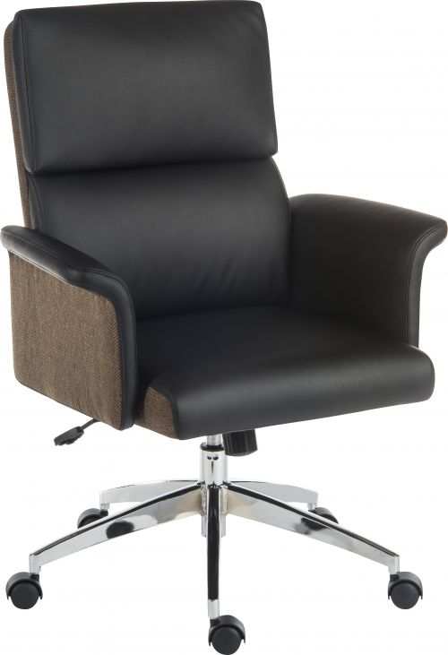 Elegance Medium Backed Executive Chair Black Leather Look Gull Wing Arms Contrast Chocolate Accent Fabric with Recline Function Smart Swivel Chrome Ba