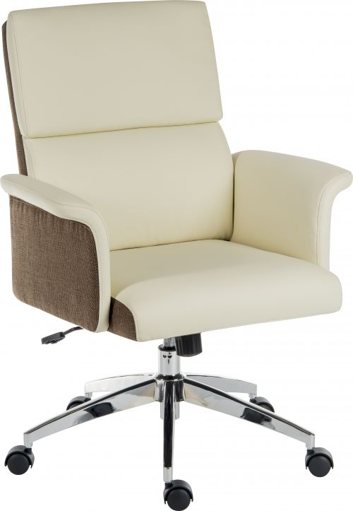 Elegance Medium Backed Executive Chair Cream Leather Look Gull Wing Arms Contrast Chocolate Accent Fabric with Recline Function Smart Swivel Chrome Ba