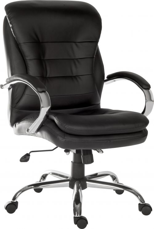 Goliath Light Executive Black Leather Faced Office Chair with Matching Padded Armrests and 150kg Rated Gas Lift