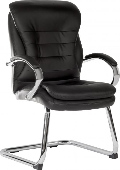 Goliath Light Visitor Black Cantilever Chair with Matching Padded Armrests