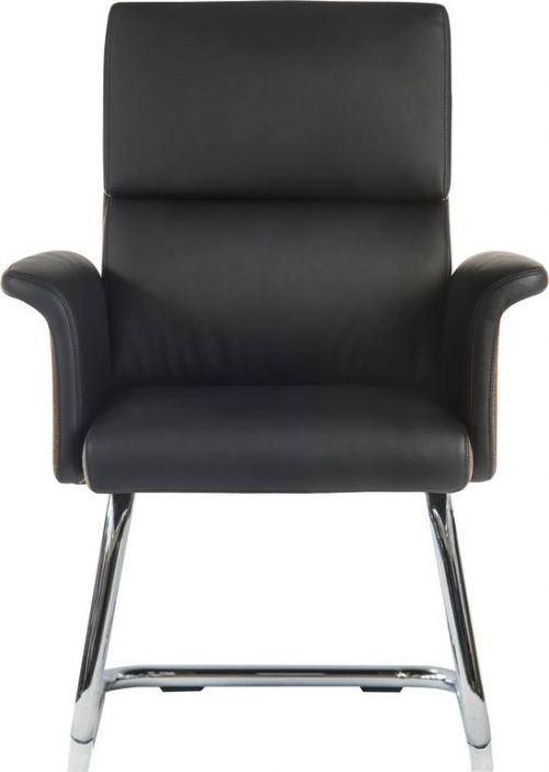 Teknik Elegance Medium Backed Visitor Chair in Supple Black Leather Look Upholstery with Contrasting Chocolate Cross-woven Accent Fabric