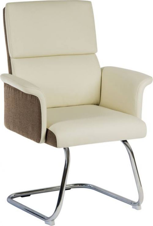 Elegance Medium Backed Visitor Chair in Supple Cream Leather Look Upholstery with Contrasting Chocolate Cross-woven Accent Fabric