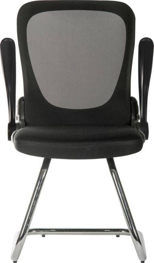 Teknik Flip Mesh Visitor chair in Black  with Fold Down Backrest and Flip up Armrests