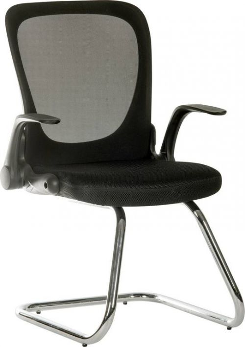 Flip Mesh Visitor chair in Black  with Fold Down Backrest and Flip up Armrests