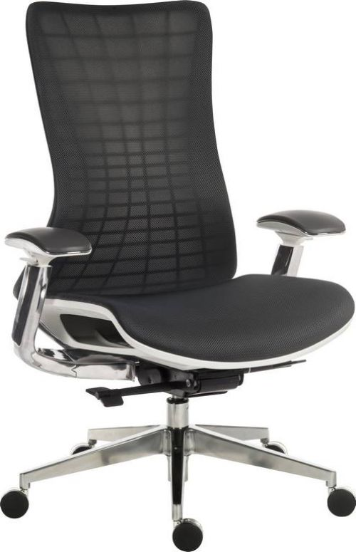 Teknik Office Quantum White Executive Chair Breathable Mesh Backrest Multi-Adjustable Padded Armrests