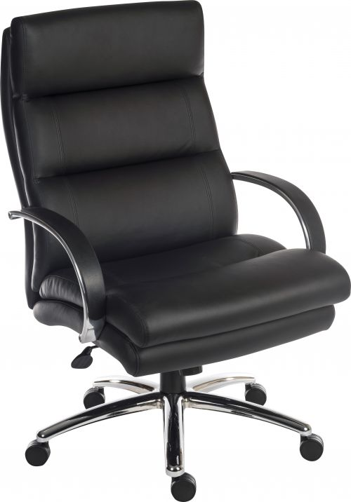 Teknik Office Samson Heavy duty black leather look executive chair with matching padded armrests and sturdy nylon base.