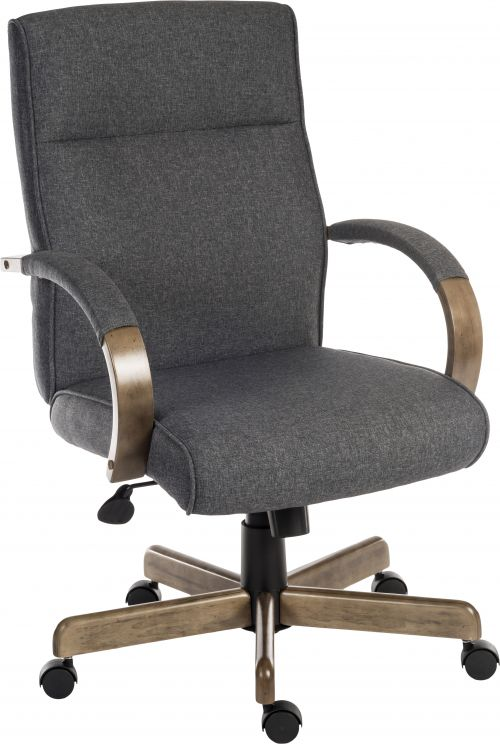 Teknik Office Grayson Fabric Grey Chair with driftwood effect arms and matching five star base