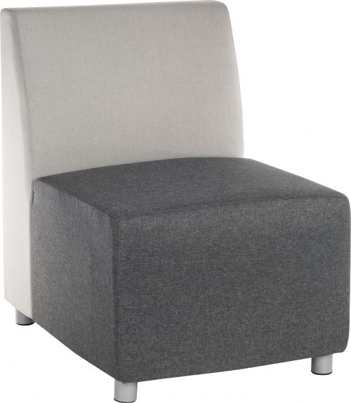 Teknik Office Cube Modular Reception chair base in Grey fabric with metal feet and optional arms