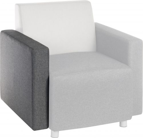 Teknik Office Cube Modular Reception chair arm in Grey fabric interchangeable for left or right hand