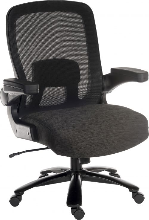 Teknik Office Hercules Heavy Duty Executive chair with mesh backrest flip up arms and rated to 35 stone