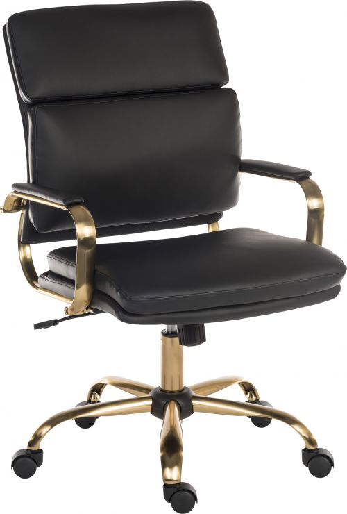 Teknik Office Vintage Executive chair with supple supple leather look fabric and brass coloured metal arm frame and five star base