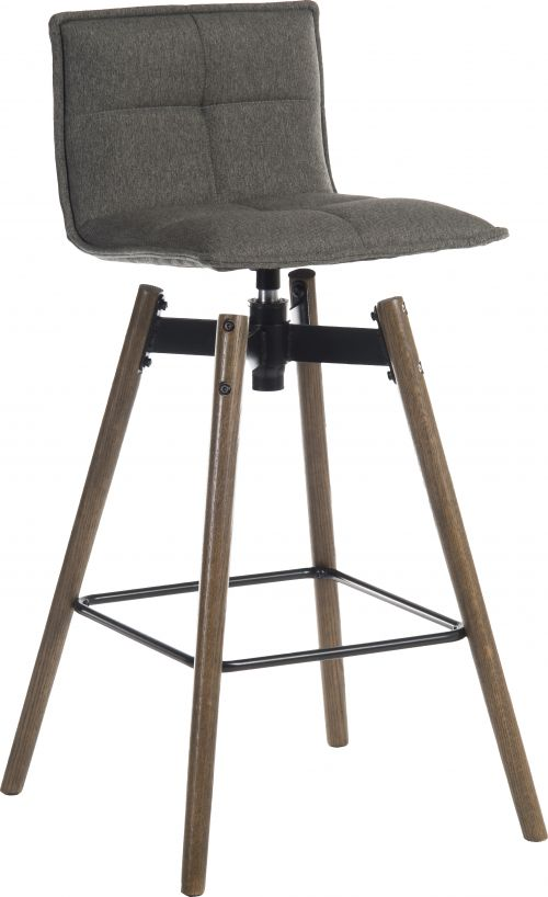 Teknik Office Spin Barstool with grey fabric upholstery and dark wood effect legs