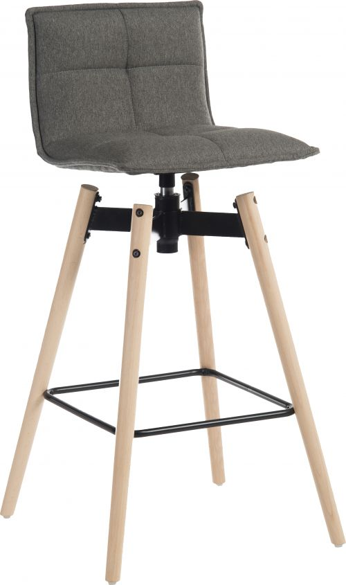 Teknik Office Spin Barstool with grey fabric upholstery and light wood effect legs