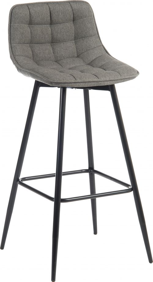 Teknik Office Quilt Barstool with padded grey fabric upholstery and black powder coated metal legs