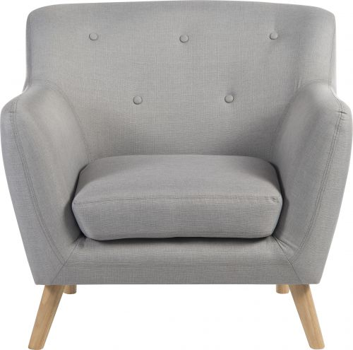 Teknik Office Skandi Armchair in grey fabric with button back and wooden feet