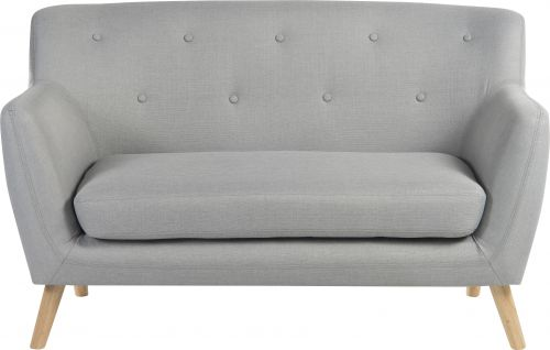 Teknik Office Skandi 2 seater sofa in grey fabric, button detailed back and wooden feet
