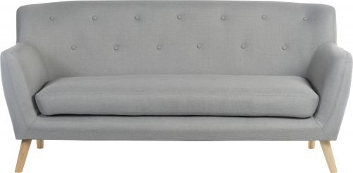 Teknik Office Skandi 3 seater sofa in grey fabric, button detailed back and wooden feet
