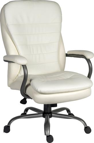 Teknik Office Goliath Heavy Duty White Bonded Leather Faced Executive Office Chair with matching padded armrests