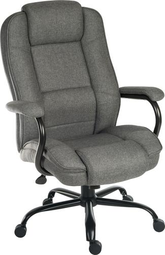 Teknik Office Goliath Duo Heavy Duty Grey Fabric Executive Office Chair with matching padded armrests and generous seat measurements