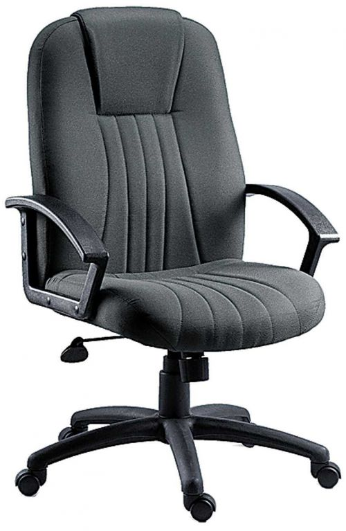 Teknik City Charcoal Fabric Executive Office Chair With  Durable Nylon Armrests and Matching Five Star Base