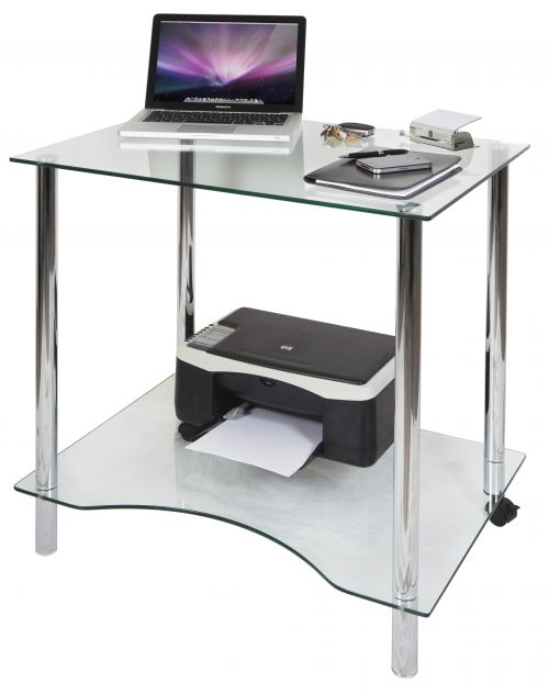 Teknik Office Crystal Tempered Glass Workstation with Solid Bottom Shelf