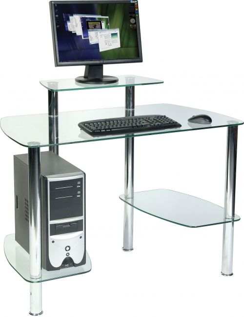 Teknik Office Glacier Tempered Glass Workstation with CPU Storage and Shelves