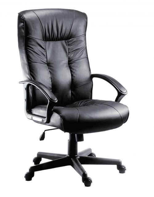Teknik Office Gloucester Black Executive High Back Leather Faced Chair with Matching Black Nylon Arm Rests