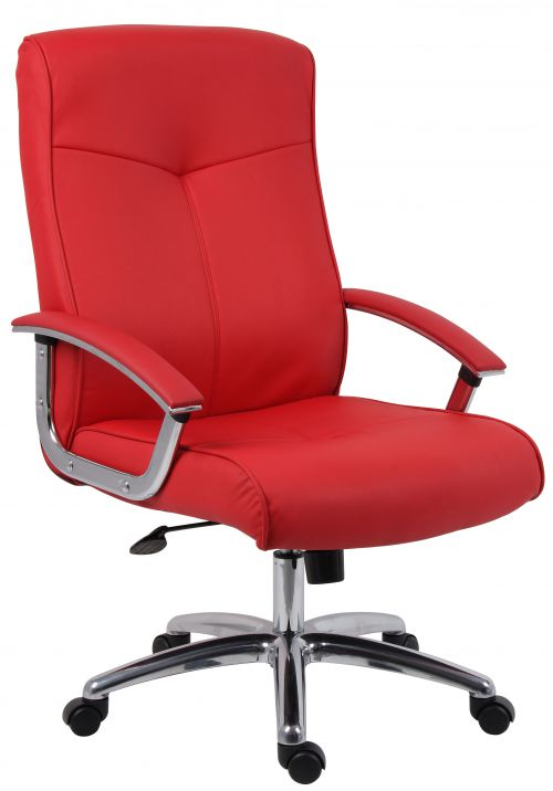 Teknik Office Hoxton Red Leather Faced Executive Chair Matching Padded Armrests and Chrome Five Star Base