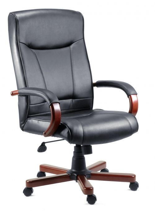 Teknik Office Kingston Black Executive Bonded Leather Chair Mahogany Effect Arms and Five Star Base