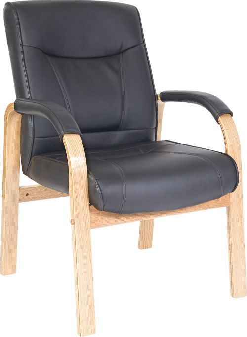 Teknik Office Kingston Black Visitor Bonded Leather Chair With Light Oak Effect Arm Frame