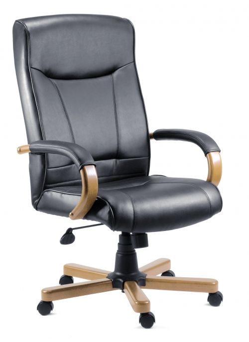 Teknik Office Kingston Black Executive Bonded Leather Chair With Light Oak Effect Arms and Five Star Base