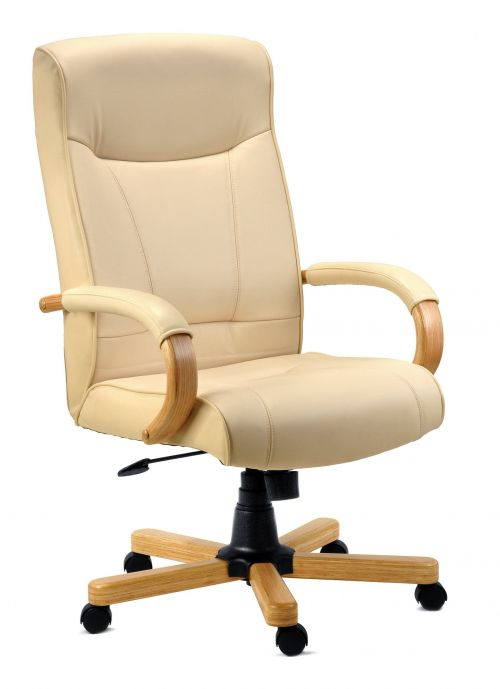 Teknik Office Knightsbridge Cream Bonded Leather Executive Chair with Matching Removable Padded Armrests