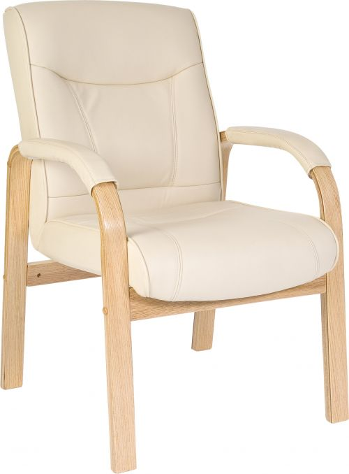 Teknik Office Knightsbridge Cream Bonded Leather 4 Legged Visitor Chair Matching Removable Padded Armrests