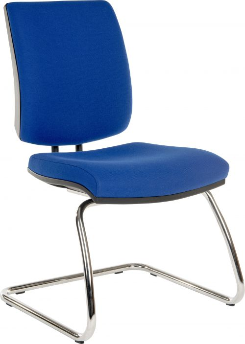 Teknik Office Ergo Visitor Deluxe Blue Fabric Cantilever Chrome Framed Chair Certified To 160Kg