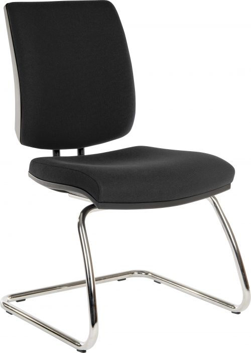 Teknik Office Ergo Visitor Deluxe Black Fabric Cantilever Chrome Framed Chair Certified To 160Kg