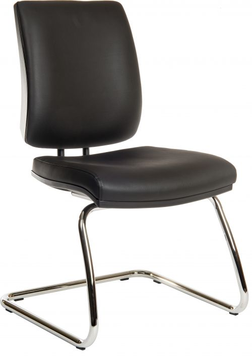 Teknik Office Ergo Visitor Deluxe Black PU Wipe Clean Cantilever Chrome Framed Chair Certified To 160Kg
