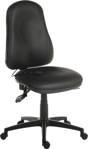 Teknik Office Ergo Comfort AIR Black PU High Back Executive Operator Chair with Pump Up Lumbar Suppport Comfort Arm Rests Optional