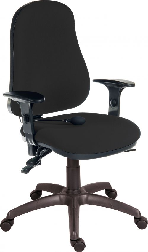 Teknik Office Ergo Comfort Black Fabric High Back Executive Operator Chair Pump Up Lumbar Support Comfort Arm Rests Optional