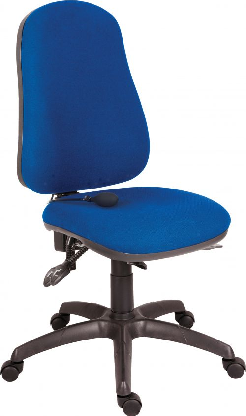 Teknik Office Ergo Comfort Blue Fabric High Back Executive Operator Chair Pump Up Lumbar Support Comfort Arm Rests Optional